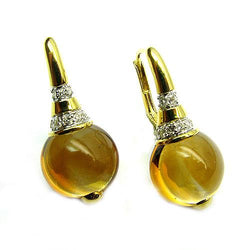 18k Yellow Gold 1'' Citrine & Diamond Earrings