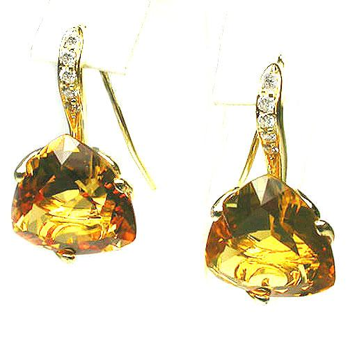 18k Yellow Gold 1'' Trillion Citrine & Diamond Earring