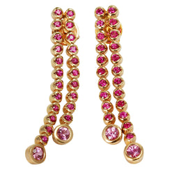 14k Gold 1 9/16'' Pink Sapphire Strand Earrings