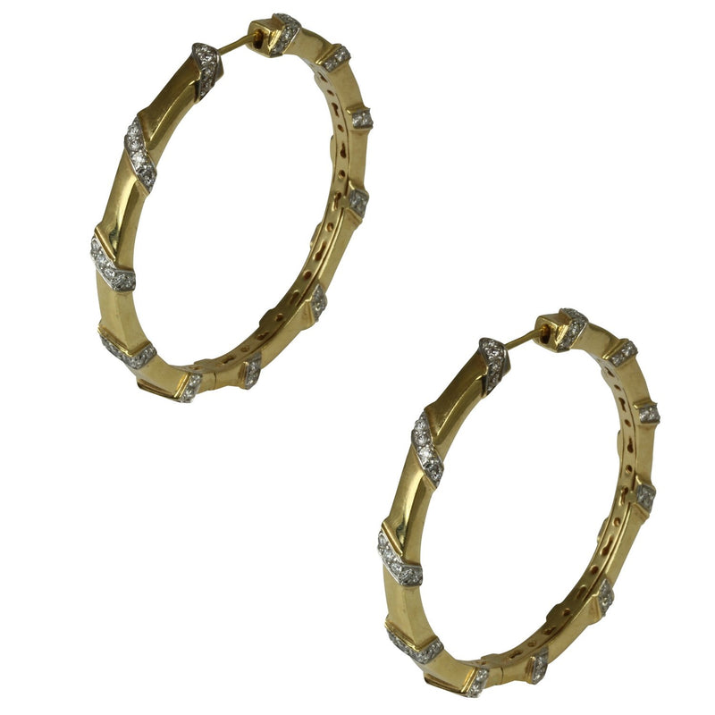 18k Gold 1 3/4'' Diamond Swirl Hoop Earrings