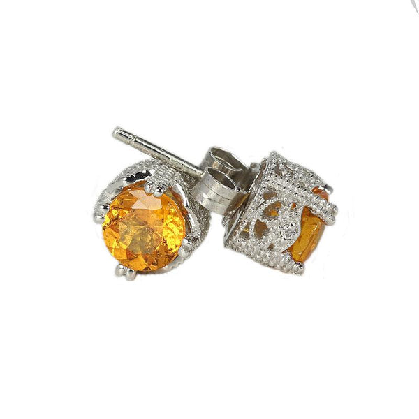 18k White Gold 1/4'' Spessartite & Diamond Stud Earrings