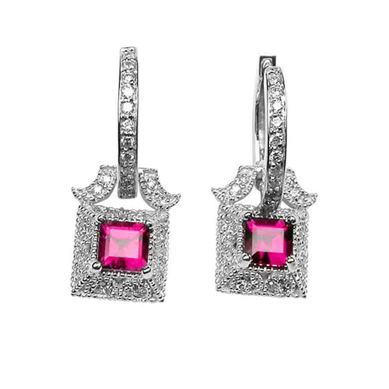 14k Gold 1'' Rubellite & Diamond Earrings