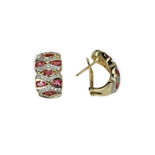 14k Pink Spinel & Diamond Huggie Earrings