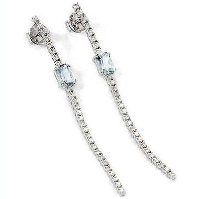 14k Gold 2 5/8'' Aquamarine & Diamond Dangle Earrings