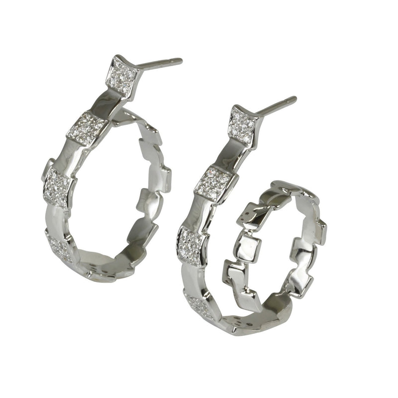 18k Gold 1 1/8'' Diamond Swirl Hoop Earrings