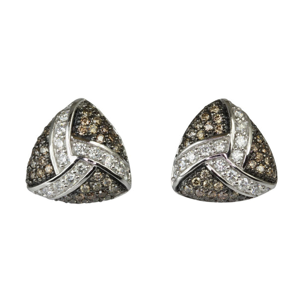 14k Gold 9/16'' Mixed Diamond Trillion Stud Earrings