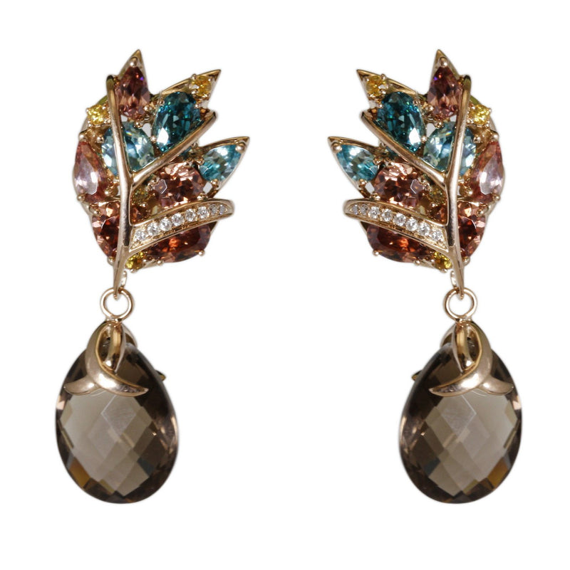 18k Gold Multi Gemstone Feather Earrings