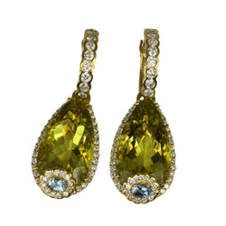 18k Gold Fancy Embellished Lime Quartz Earrings
