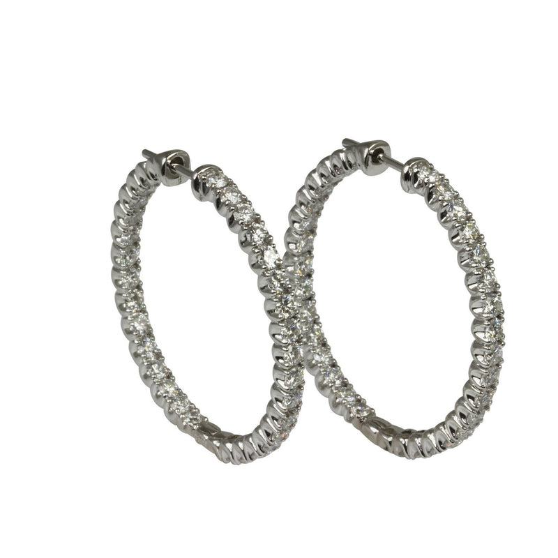 14k Gold 1 3/8'' Diamond Hoop Earrings