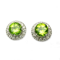 14k Gold 1/2'' Peridot & Diamond Post Back Earrings