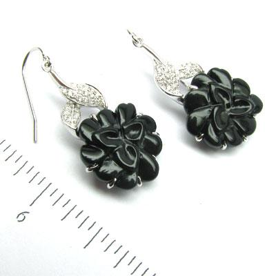 14k Gold 1 3/8'' Black Onyx Flower & Diamond Earrings