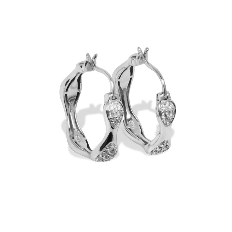14k White Gold Pave Diamond Earrings