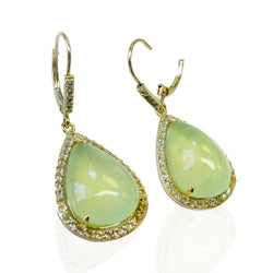 14k Gold Prehnite & White Topaz Earrings