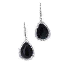 14k Gold Onyx & White Topaz Topaz Earrings