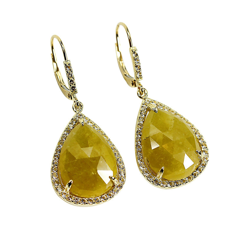 14k Gold Checkerboard Yellow Sapphire & White Topaz Earrings