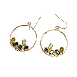 14k Gold Green Tourmaline Circle Hoop Earrings