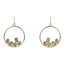 14k Gold Multi-tourmaline Circle Hoop Earrings