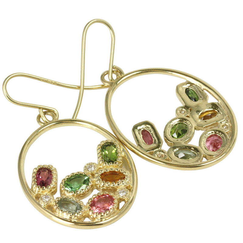 14k Gold Tourmaline & Diamond Oval Hoop Earrings