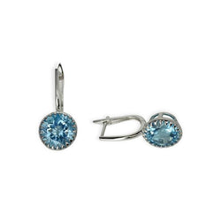 14k Gold 11mm Round Blue Topaz Earrings