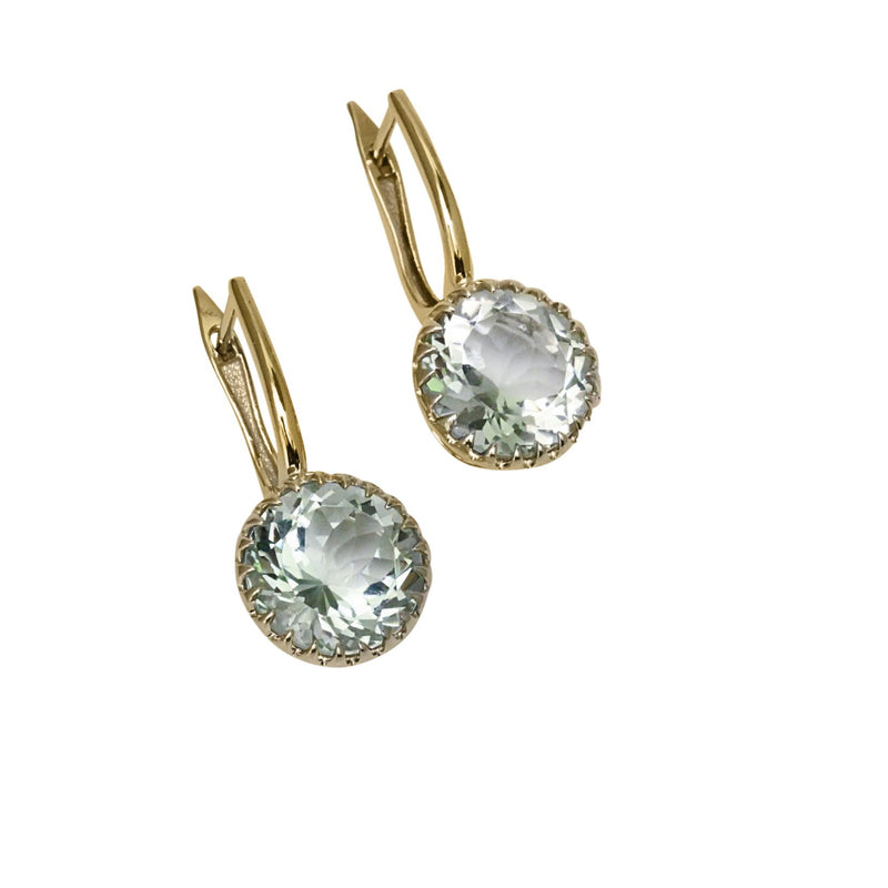 14k Gold 11mm Round Rock Crystal Earrings
