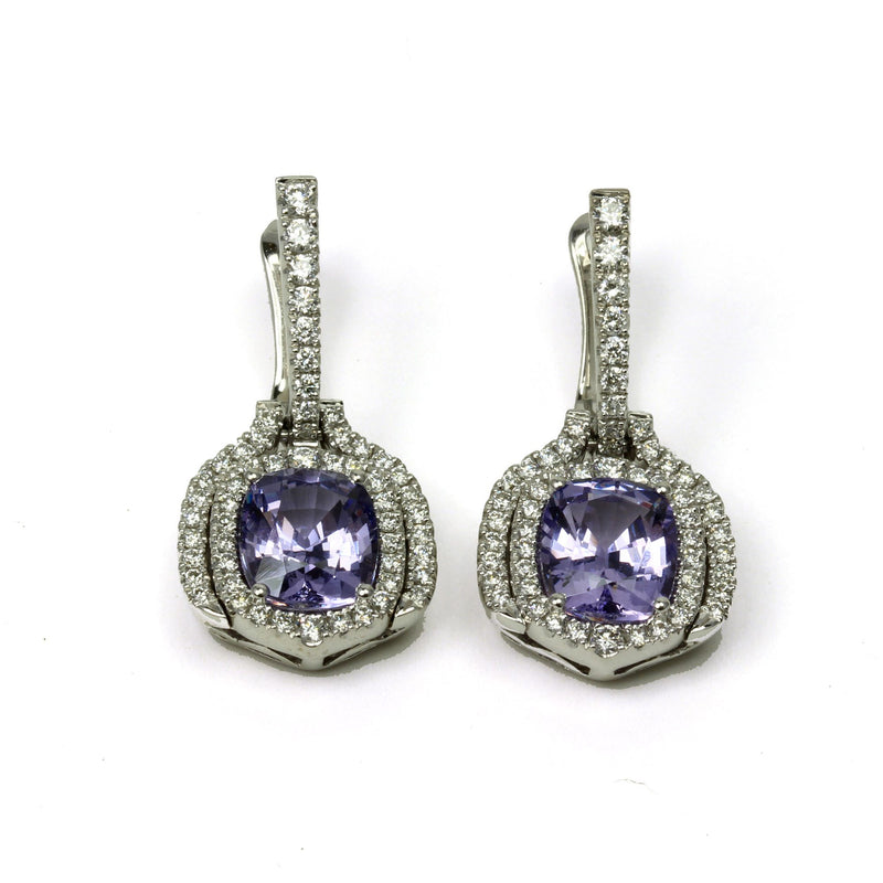 18k Gold Lavender Spinel & Vs Diamond Earrings