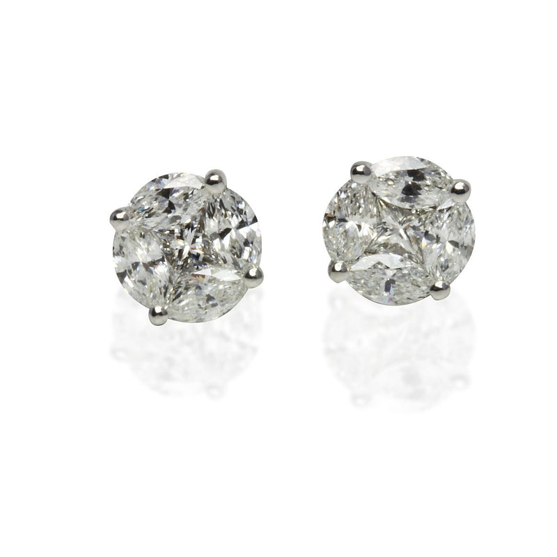 14k Gold & Diamond Composite Round Earrings