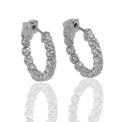 14k Gold Diamond Inside Out Hoop Earrings