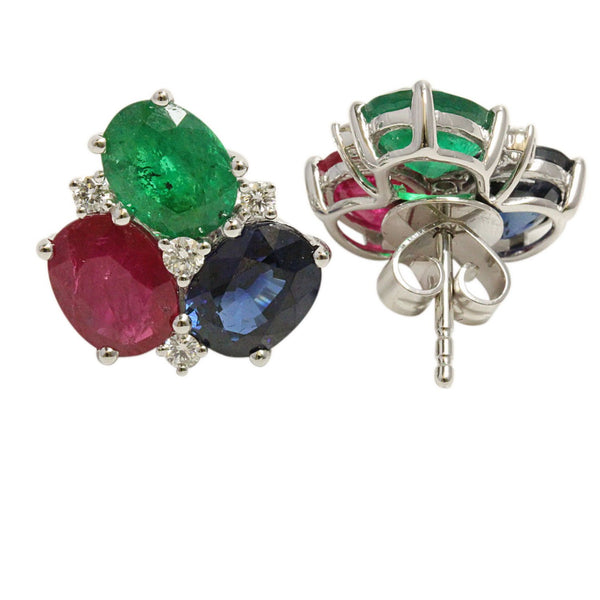 18k Gold Emerald, Blue Sapphire, Ruby & Diamond Earrings