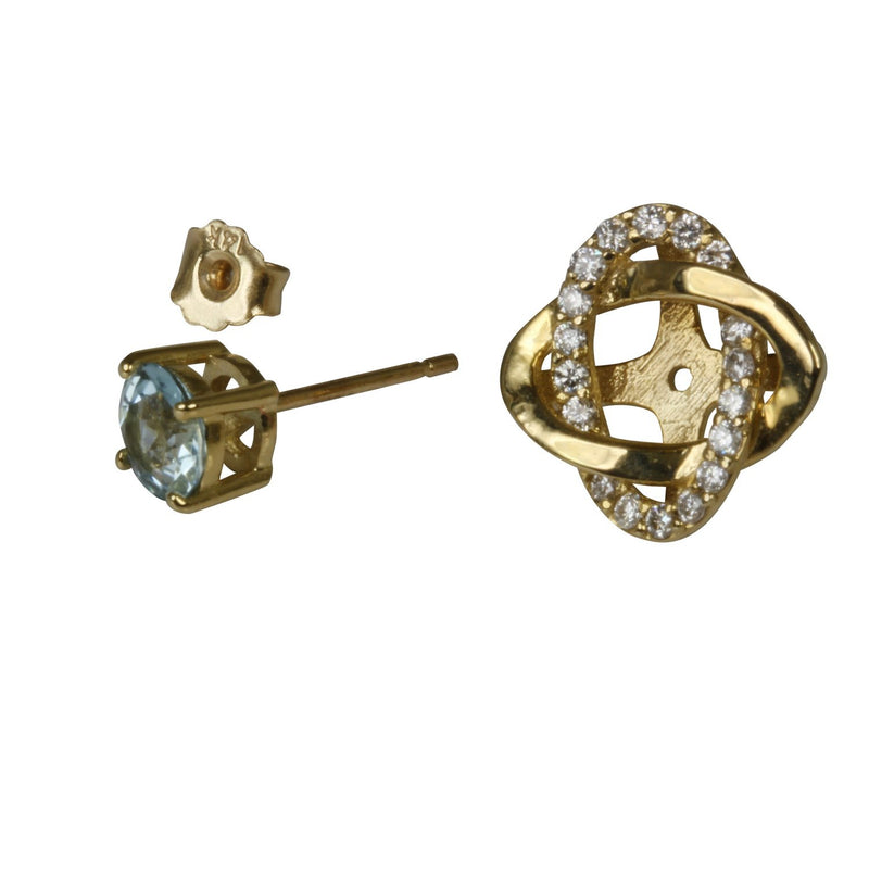 14k Gold Aqua & Diamond Interlocking Ovals Jacket Earrings