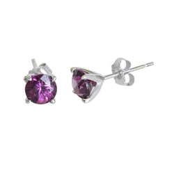 14k Gold 5mm Round Purple Garnet Stud Earrings