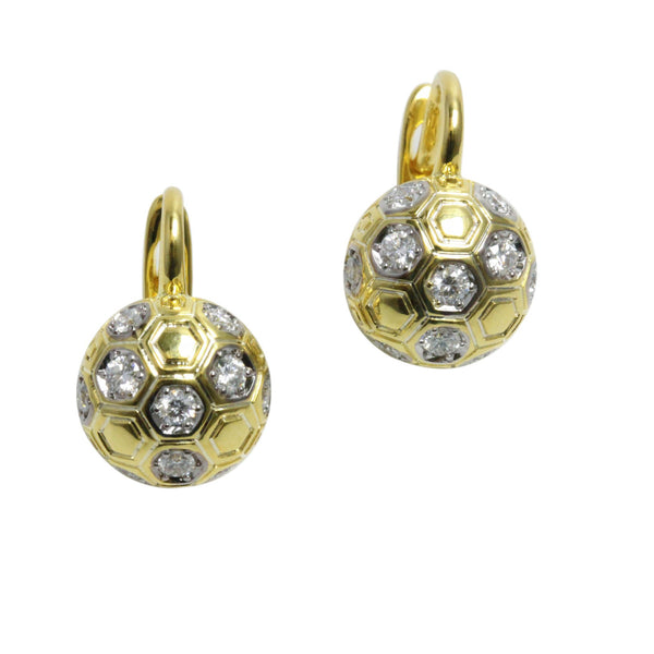 14k Gold 3/8' Diamond Hexagonal Half Ball Earrings