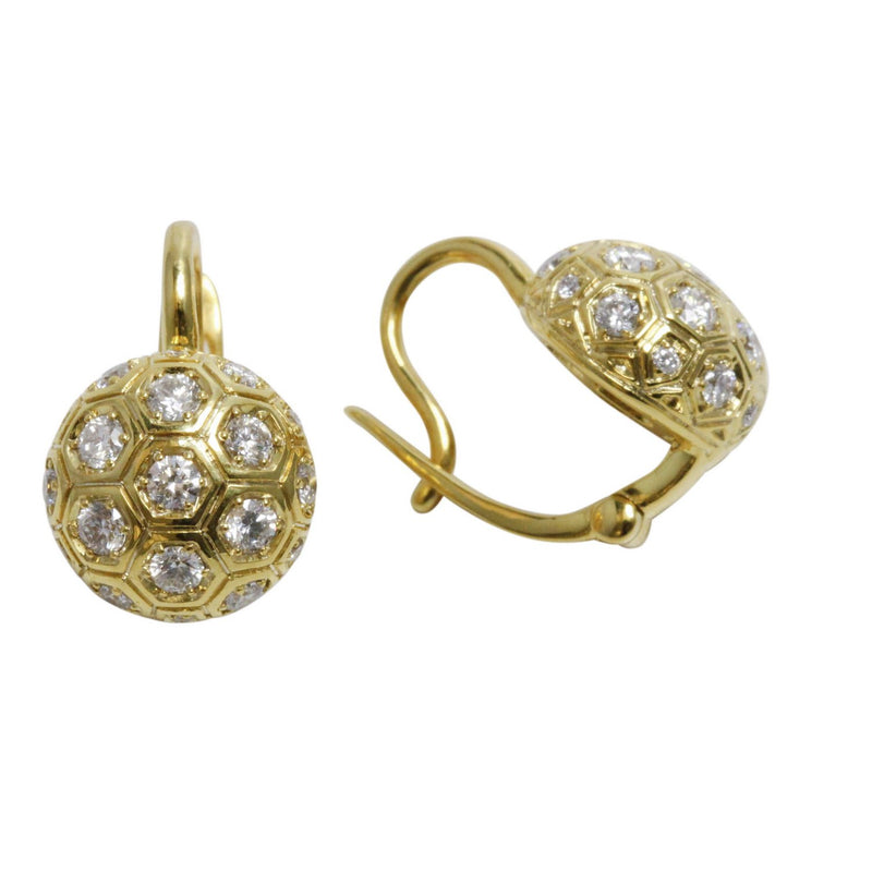 14k Gold Diamond Hexagonal Half Ball Earrings