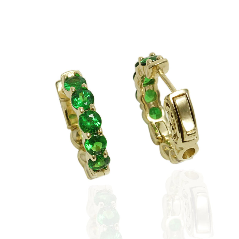 14k Gold Tsavorite Hoop Earrings