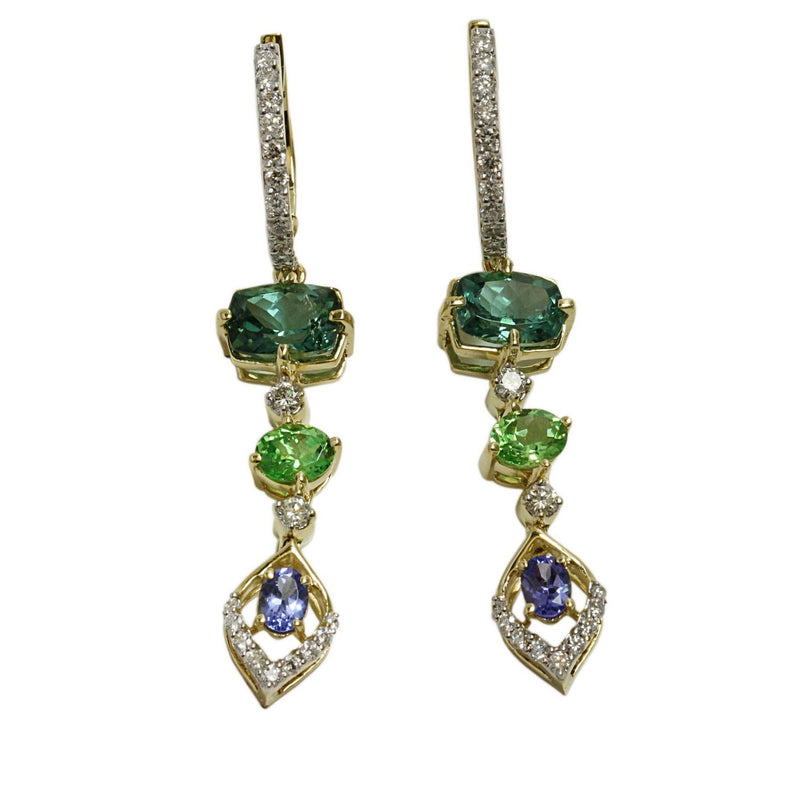 14k Gold Multi Gemstone & Diamond Dangle Earrings