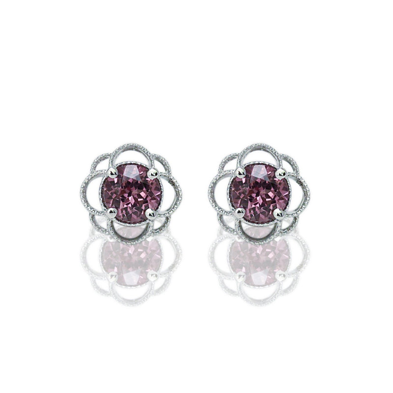14k Gold 6mm Round Malaya Garnet Petal Earrings