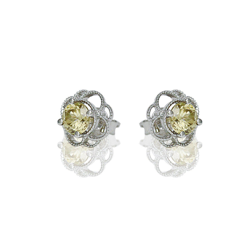 14k Gold 6mm Round Yellow Zircon Petal Earrings