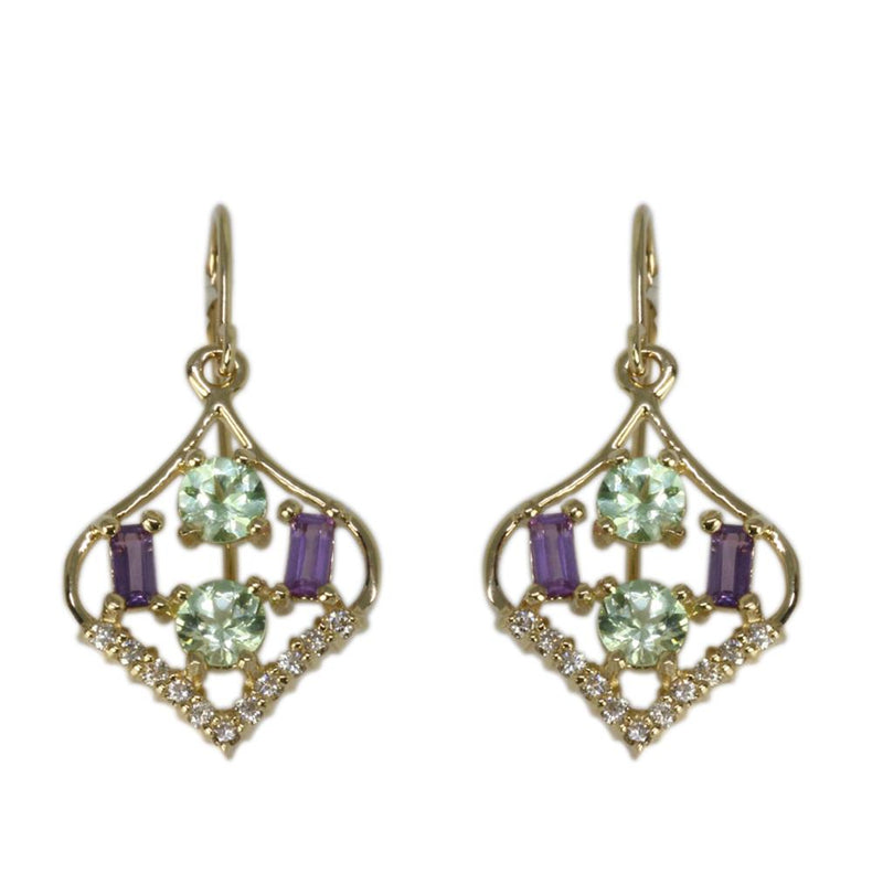 14k Gold Lavender Sapphire & Mint Garnet Earrings