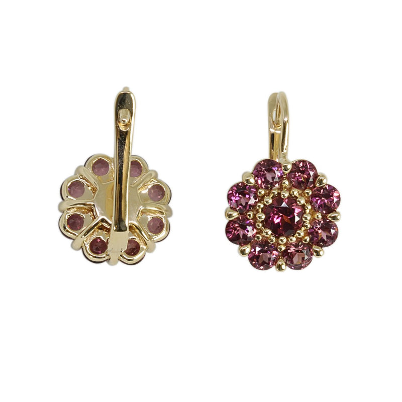 14k Gold Rhodolite Flower Earrings
