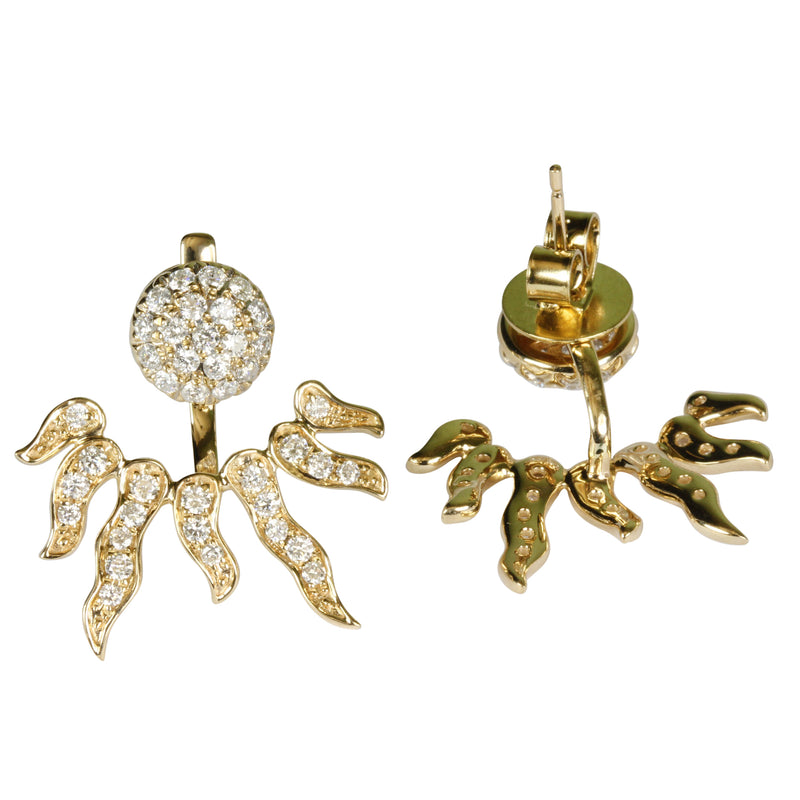 14k Gold Diamond Sun Burst Attachment Earrings