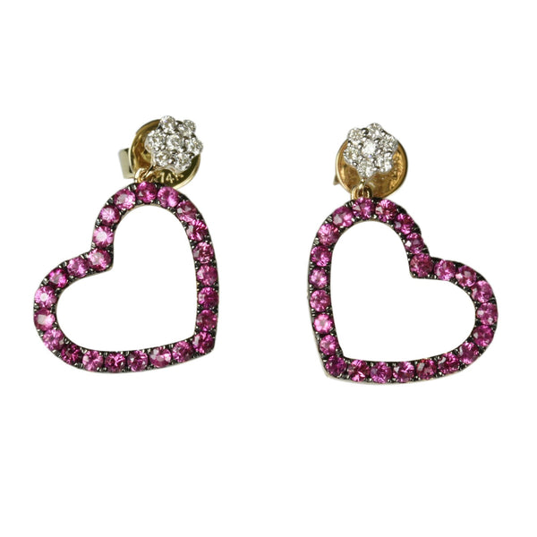 14k Gold Pink Sapphire & Diamond Drop Heart Earrings