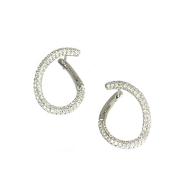 14k Gold Diamond Front Hoop Earring