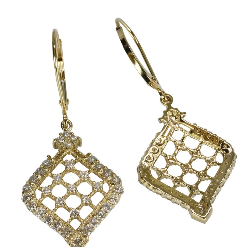 14k Gold & Diamond Filigree Earrings