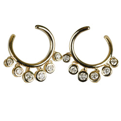14k Gold Diamond Horseshoe Hoop Earrings