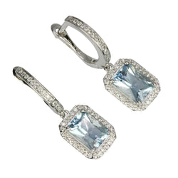 14k Gold Emerald Cut Aquamarine Earrings