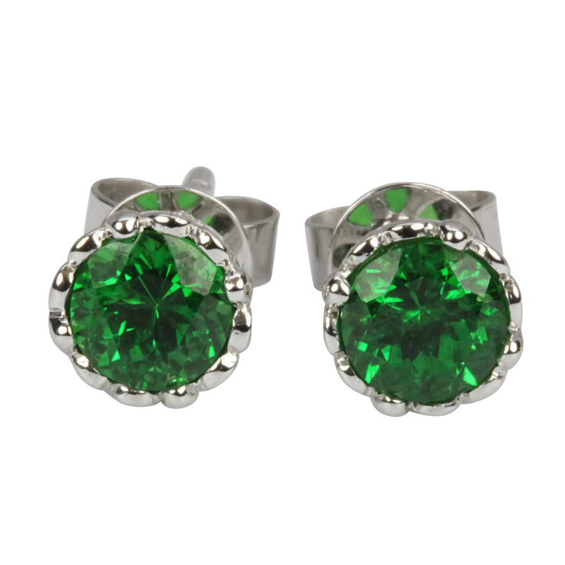 14k Gold Earrings Tsavorite & Diamond Stud Earrings