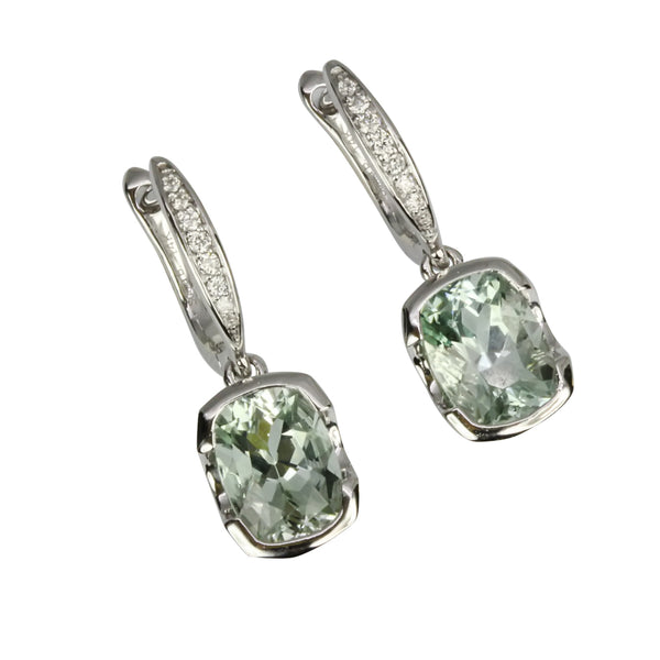 14k Gold Cushion Aquamarine & Diamond Earrings