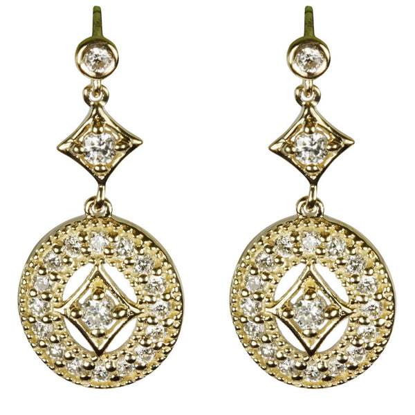 14k Gold Diamond Embellished Earrings
