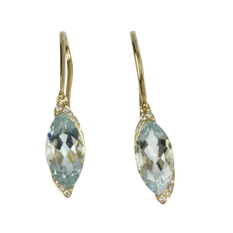 14k Gold Marquise Aquamarine & Diamond Earrings