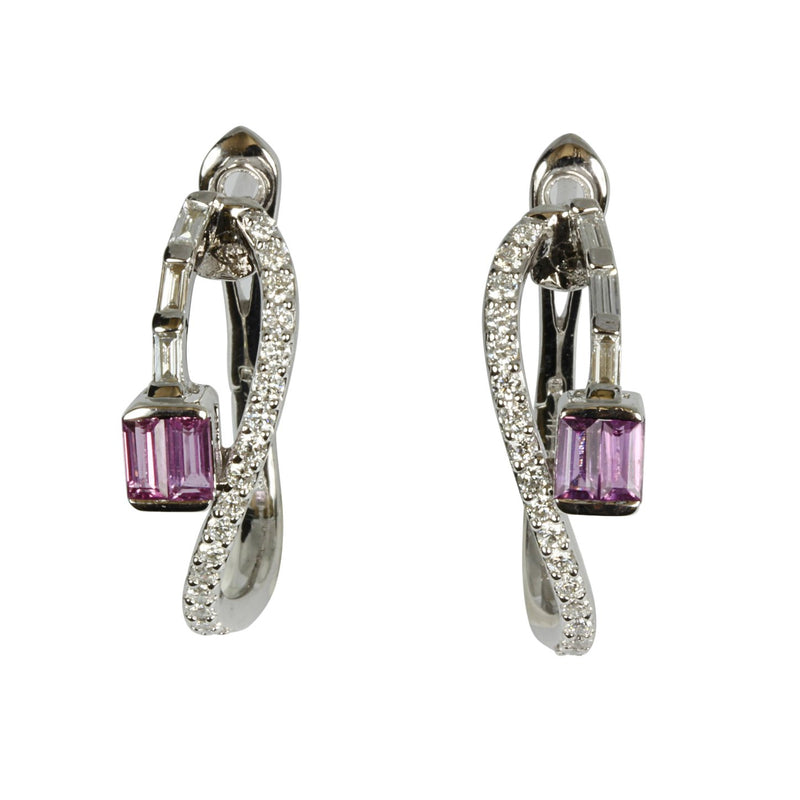 14k Gold Lavender Sapphire & Diamond Earrings
