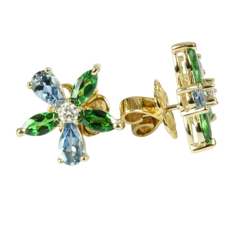 14k Gold Aquamarine & Tsavorite Flower Earrings